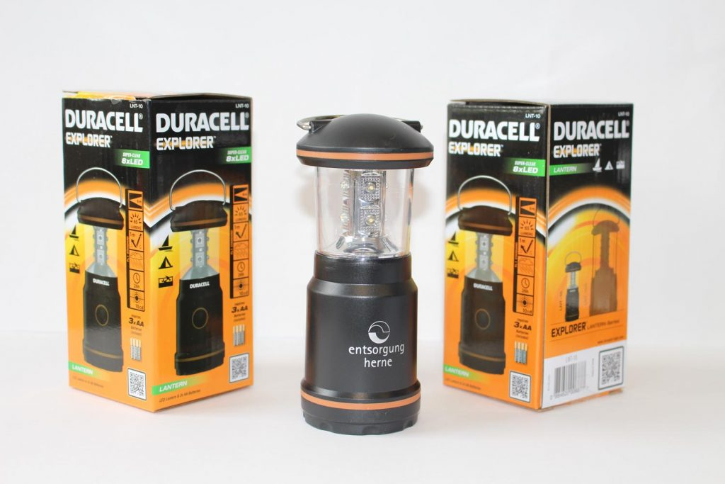 Preise gewinnen beim Wertstoffhof: Duracell Campinglampe von entsorgung herne