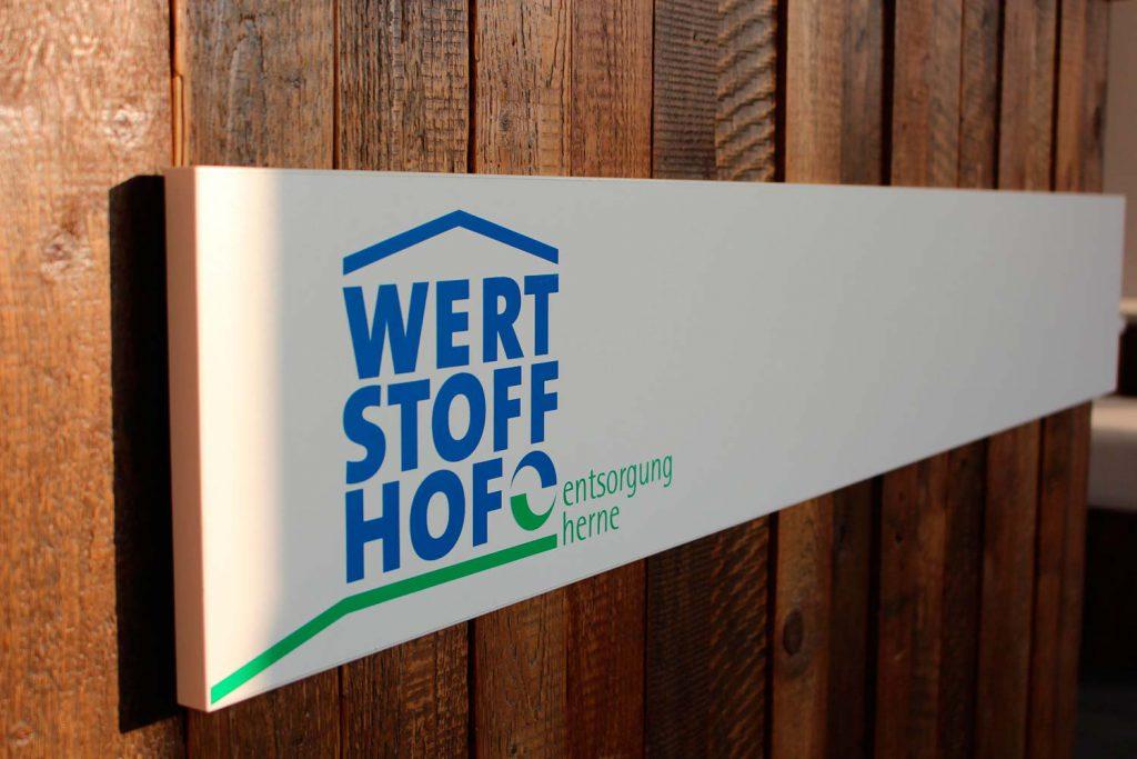 Schild mit Logo Wertstoffhof Herne