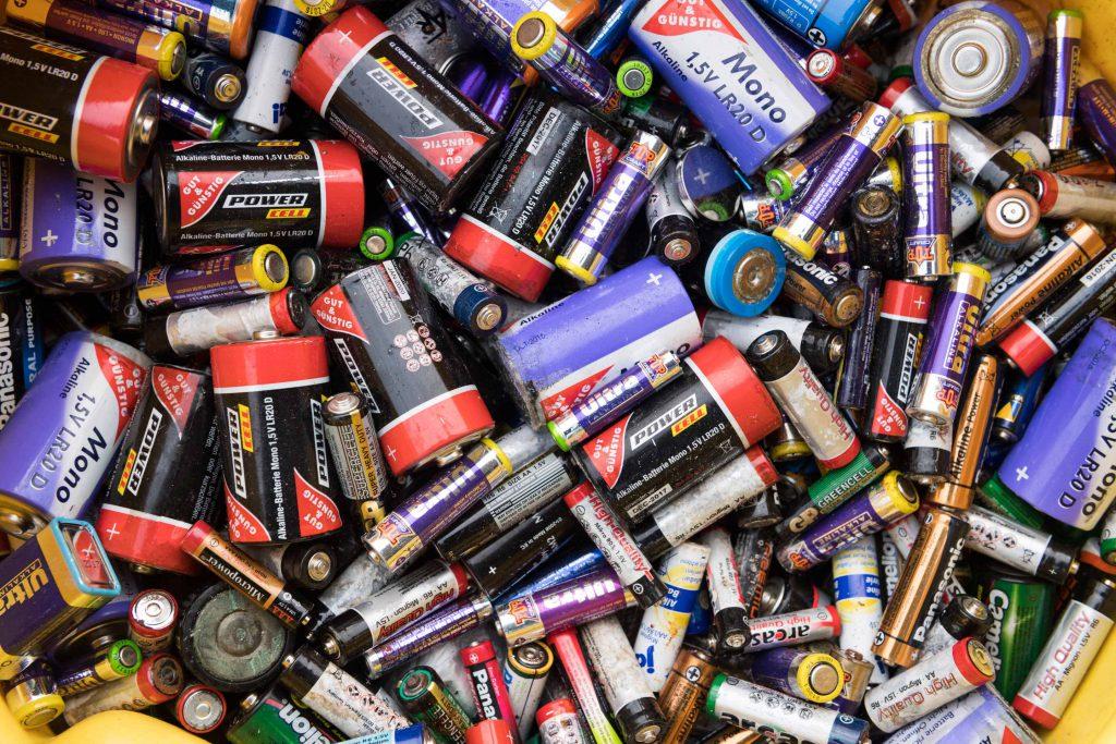 Entsorgte Batterien auf dem Wertstoffhof Herne